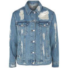 Topshop Moto Rip Extreme Denim Jacket ($60) ❤ liked on Polyvore featuring outerwear, jackets, coats & jackets, coats, denim, blue jean jacket, layered jacket, oversized jean jacket, 80s denim jacket and distressed denim jacket