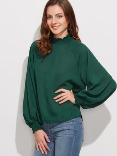 Blusa de manga farol - verde oscuro-Spanish SheIn(Sheinside)