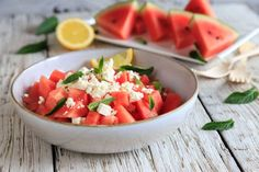 Watermelon Feta Salad Recipes, Watermelon And Feta, Summer Salad Recipes, Summer Salads, Feta Salat, Side Dishes For Bbq, Large Salad Bowl, Pasta, Vegetarian Cheese