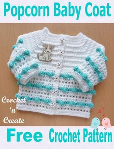 Popcorn Baby Coat Free Crochet Pattern - Crochet popcorn baby coat to match popcorn bonnet, free crochet pattern. Crochet Baby Cardigan Free Pattern, Crochet Baby Sweaters, Crochet Baby Blanket Beginner, Baby Sweater Patterns, Crochet Baby Clothes, Newborn Crochet, Baby Patterns, Baby Knitting, Crochet Patterns