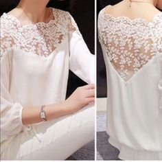 Embroidered lace top M/L Semi sheer. Material: rayon. Size M -3-and Size L-1- Tops Tees - Long Sleeve