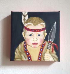 my little portrait* Kinderporträt vom Foto Acryl auf Leinwand  Motto: Indianer Moto frei wählbar