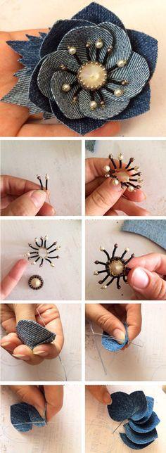 Create a denim brooch - a flower with a Swarovski crystal http://www.free-tutorial.net/2017/04/denim-brooch-tutorial.html