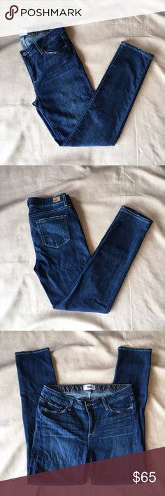 "Paige Jeans ""Skyline Skinny"" in Raya Flat lay waist 16.5"", rise 9.5"", inseam 31"". GUC. Your go to skinny for Saturday's around town and adventuring. Simple and chic, effortlessly style with your every day essentials you already love! Paige Jeans Jeans Skinny"