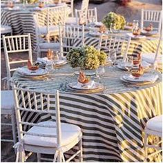 love the striped tablecloth.