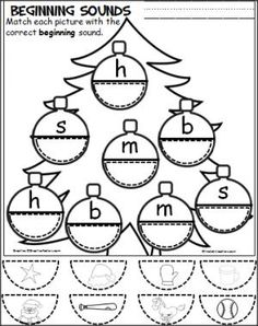 Christmas Ornament Beginning Sounds Cut and Paste – Madebyteachers - Colorful Dreams Kindergarten Nursery Kindergarten Worksheets, Kindergarten Activities, Phonics Worksheets, Alphabet Activities, Reading Activities, Beginning Sounds, Preschool Christmas, Christmas Crafts, Preschool Learning