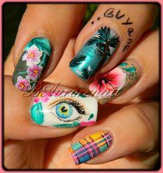 nail art Guyane oeil aquarelle