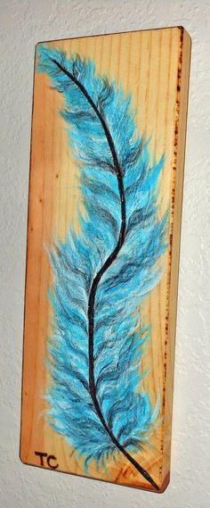 Feather painting blue feather acrylic wood by Tcavanwoodworks
