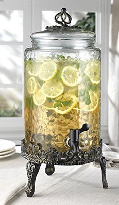 Elegant Home High Quality Hammered Glass Beverage Dispenser - Gallon, with Glass Lid and Antique Metal Stand Boutique Interior, Glass Beverage Dispenser, Beer Dispensers, Beverage Drink, Tuscan Decorating, Canister Sets, Canisters, Antique Metal, Elegant Homes