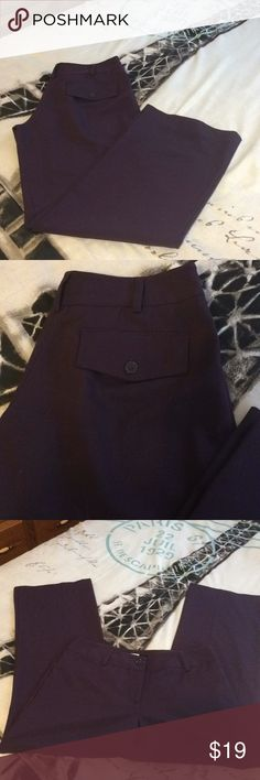 "Studio 1940 Trousers Deep purple/eggplant color flat front ""Marissa"" style trousers. Size 3MP.  Inseam is 28.5"" with a 1"" hem. Flat front pockets are sewn shut and just for looks. Back flap button pockets are also not real; just for looks. EUC, like brand new. Poly/rayon/spandex blend. Great pants for your work wardrobe. Machine wash, tumble dry low. Studio 1940 Pants Trousers"