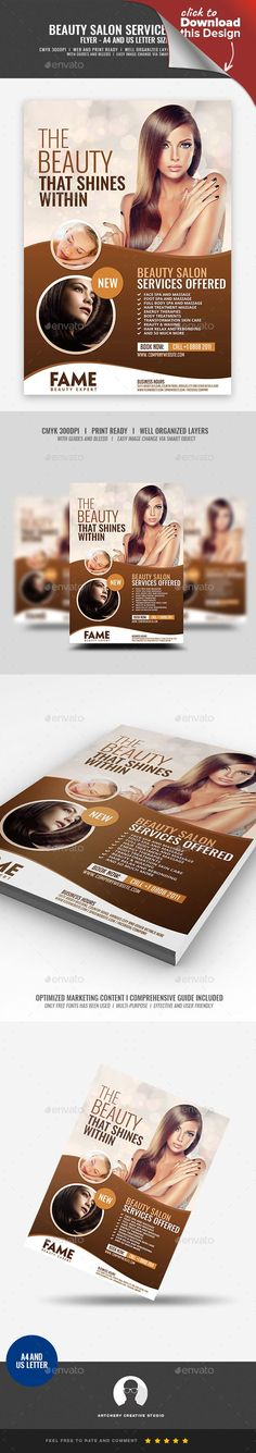 a4, ad, advertisement, beautiful, beauty, body, body care, brown, comfort, flyer, flyer design, fresh, hair, hair salon flyer, haircut, handout, health, health and beauty, massage, natural, pamper, pink, promotion, relax, salon, smooth, spa, template, wellness, woman Hair Salon and Makeup Services Flyer Template Boost your company's sales and attract new customers! This Hair Salon and Makeup Services Flyer Design Template has been developed to boost your Ultimate Marketing Opportunity an...