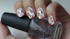 Cherry nails with dotting tool