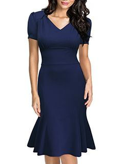 Miusol Women's Official V-Neck Retro Cap Sleeve Fitted Business Cocktail Dress - http://www.darrenblogs.com/2016/08/miusol-womens-official-v-neck-retro-cap-sleeve-fitted-business-cocktail-dress/