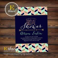 rintable Bridal Shower Invitation - Modern Aztec Chevron and Arrows Bridal Shower Invite - Navy, Mint, Gold, and Coral Tribal Shower Invite