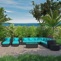 Cohesion 11 Piece Outdoor Patio Sectional Set in Espresso Turquoise Patio Side Table, Star Wars, Outdoor Furniture Sets, Outdoor Decor, Outdoor Sectional, Espresso, Wicker, Restoration, Throw Pillows