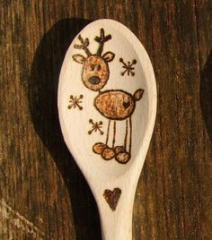 Reindeer handmade hand engraved wooden spoon. It can be a imaginative surprise your friend. It would be a funny gift for Christmas. Handmade - Hand burning wooden engraving by myself with great attention to detail and made to your specific requirements.  I can make the wooden spoon in different designs. Can be personalised with name or I can write a short text to the handle or have the date too for no extra cost