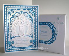 1st Holy Communion for a little boy using Spellbinders, Elegant Labels Four, Floral Ovals and Crosses Two
