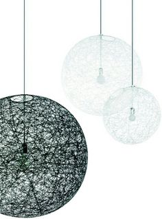Our string hanging lamps are available in black and white, and in four different sizes.