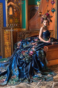 Stella de libero editorial ball gown.  Metallic, midnight blue with floral embroidery.  Fantasy.  Rococo.