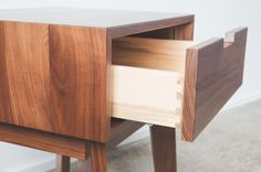 Ventura Nightstand / Bedside Table Solid Walnut by HedgeHouse