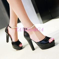 Womens Chunky Heels Pearl Buckle Strappy Open Toe Platform Wedge Pumps Shoes