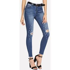 SheIn offers Rhinestone Detail Ripped Jeans & more to fit your fashionable needs. Low Rise Skinny Jeans, Ripped Denim, Ripped Skinny Jeans, Distressed Skinny Jeans, Damage Jeans For Girl, Cut Jeans, Jeans Style, Sweatpants With Pockets, Beste Jeans