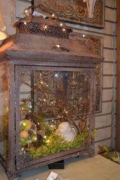 We added some little lights inside this lantern to keep the birdie and nest of eggs company!