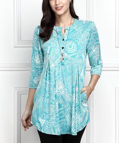 Look at this Blue Abstract Button-Front Side-Pocket Tunic - Plus Too Maxi Outfits, Casual Outfits, Hippie Chic, Modest Dresses, Blue Dresses, Khadi Kurta, Modelos Plus Size, Summer Blouses, Two Piece Dress