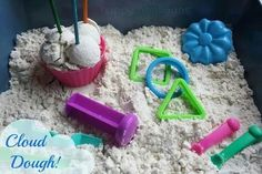2 INGREDIENT CLOUD DOUGH!    Ready in 5 minutes.  Amazingly silky, smooth sensory play, and it smells heavenly!   RECIPE HERE: http://happyhooligans.ca/cloud-dough/