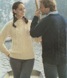 PDF Ladies and Mens Aran Sweater Knitting Pattern : Mans & Womens 33 - 42 inch bust / chest . Anchor Stitch Pattern . Instant Download by PDFKnittingCrochet on Etsy
