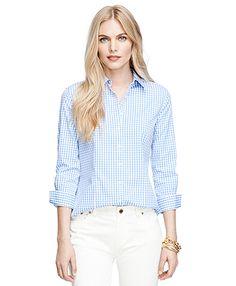Light Blue 3/4 sleeve gingham non-iron dress shirt.  Brooks Brothers Women. F14.