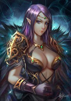 Night-Elf by Wuduo l Fantasy l Anime Art Fantasy Girl, Chica Fantasy, 3d Fantasy, Fantasy Images, Fantasy Women, Anime Fantasy, Medieval Fantasy, Fantasy Artwork, Dark Fantasy
