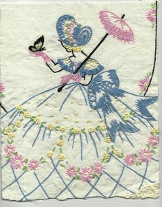 Vintage Southern Belle Embroidery Handwork Linens Hand Embroidered. $12.00, via Etsy.