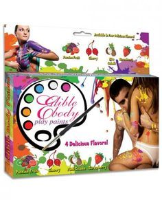 Edible Body Play Paints Take intimate play time to new erotic heights with Edible Body Paints Play Kit from Hott Products. Write your most inner desires on your partner's body, and explore intimate fun in a sexy new way. Non-staining, non-toxic water based formula. 4 assorted delicious flavors passion fruit, cherry, pina colada, strawberry. Paint brush and stencil kit included.