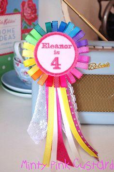 Personalised Pink Rainbow Birthday Badge by MintyPinkCustard