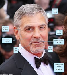 5. George Clooney - 89.91 percent: Once nicknamed Gorgeous George, the 59-year-old actor w...