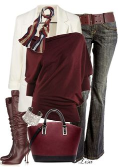 white jacket with jeans, coordinate scarf, blouse, purse