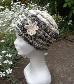 This lightweight cotton and ribbon yarn winter vintage style hat is a stylish alternative for those who love vintage fashion. Ribbon Yarn, Lilac, Purple, Stylish Hats, Cotton Hat, Shades Of Green, Girls, Crochet Hats, Vintage Fashion