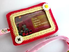 Crochet ID CardholderRed And Yellow with Flower Buttons by kim0511