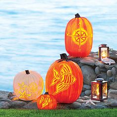 DIY Compass, Fish, Shells & Starfish, free templates, can be done on artificial pumpkins too, complete instructions