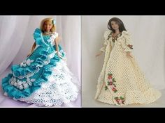 Right handed tutorial for a crochet barbie dress. This pattern is great for beginners. Stitches included are chain, single crochet, single crochet two togeth. Barbie Clothes Patterns, Crochet Barbie Clothes, Crochet Dolls, Clothing Patterns, Doll Clothes, Barbie Gowns, Barbie Dress, Fashion Dolls, Fashion Outfits