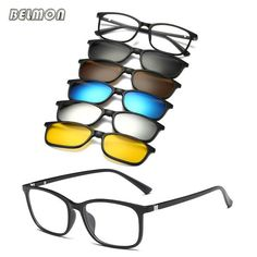 96a3489308 Belmon Spectacle Frame Men Women With 5 Piece Clip On Polarized Sunglasses  Magnetic Glasses Male Driving Myopia Optical RS477