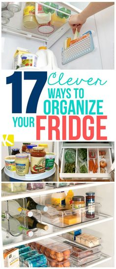 17 Clever Ways to Organize Your Fridge - Refrigerator - Trending Refrigerator for sales. - 17 Clever Ways to Organize Your Fridge Organisation Hacks, Organizing Hacks, Organizing Your Home, Cleaning Hacks, Organizing Clutter, Storage Hacks, Storage Bins, Storage Solutions, Refrigerator Organization