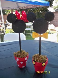 Minnie and Mickey Mouse centerpieces  Very simple to make...spray painted styrofoam balls black, painted pots red, used sponge to make polka dots, found ribbon/button  at craft store. Found dowels at local hardware, spray  Painted black, used green foam and moss to hold dowel! Used dowels to connect ears!