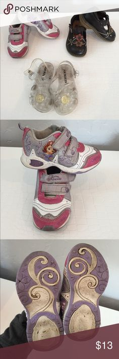 Girls size 6 shoes bundle #4 This is bundle #4. These are used and just needs scrub. Everything works nothing torn or broken. This bundle includes 3 pair of size 6 Girls toddler shoes. Included in this bundle is -Princess Sophia light up sneakers - Brown Rachel's Shoes Maryjanes - clear Joe Boxer Jellies with a flower on top Shoes