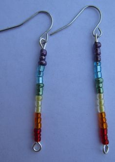 Rainbow Dangling Earrings by SummerCAmber on Etsy, $3.00