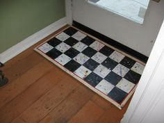 Hand painted Oil Cloth Mat for back door.