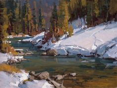"""Brooks Lake Runoff"" not for sale River Painting, Painting Snow, Artist Painting, Painting Lessons, Painting Classes, Painting Tips, Watercolor Landscape, Landscape Art, Landscape Paintings"