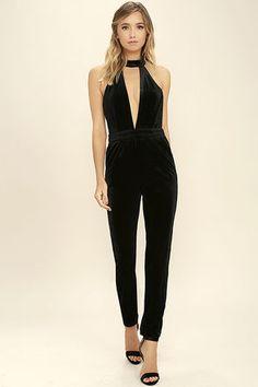 f4c5fa0d58f Every twirl you take in the Spin Me  Round Black Velvet Jumpsuit will have  all