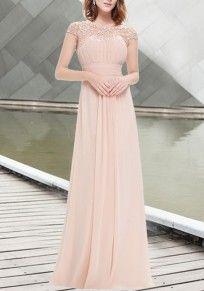 Pink Patchwork Lace Cut Out Backless Draped Elegant Chiffon Prom Maxi Dress